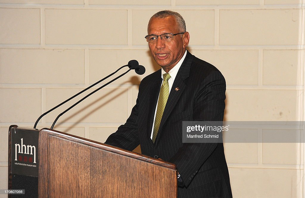 Administrator of NASA <a gi-track='captionPersonalityLinkClicked' href=/galleries/search?phrase=Charles+Bolden+-+NASA+Administrator&family=editorial&specificpeople=15164541 ng-click='$event.stopPropagation()'>Charles Bolden</a> speaks to the audience during the handover of moon rocks from NASA Apollo Missons 15 and 17 at the Natural History Museum on June 18, 2013 in Vienna, Austria. The National Aeronautics and Space Administration (NASA) is loaning three samples of moon rocks long term to the Naturhistorisches Museum.