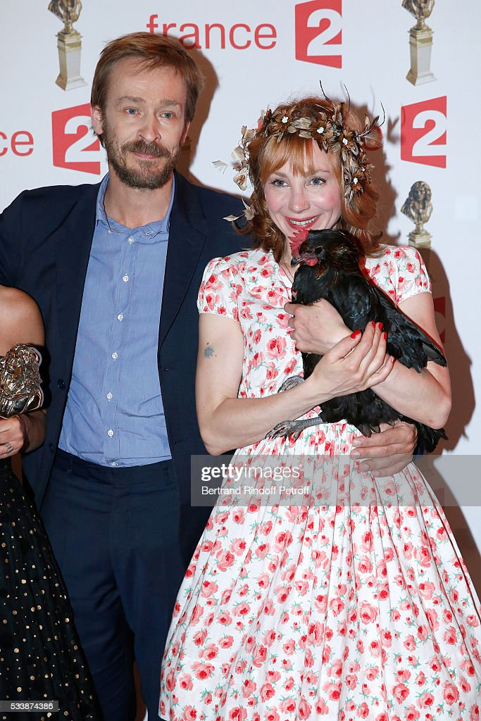 Administrator of the 'Comedie Francaise', Eric Ruf, actress Julie Depardieu and her Chicken attend 'La 28eme Nuit des Molieres' on May 23, 2016 in Paris, France.