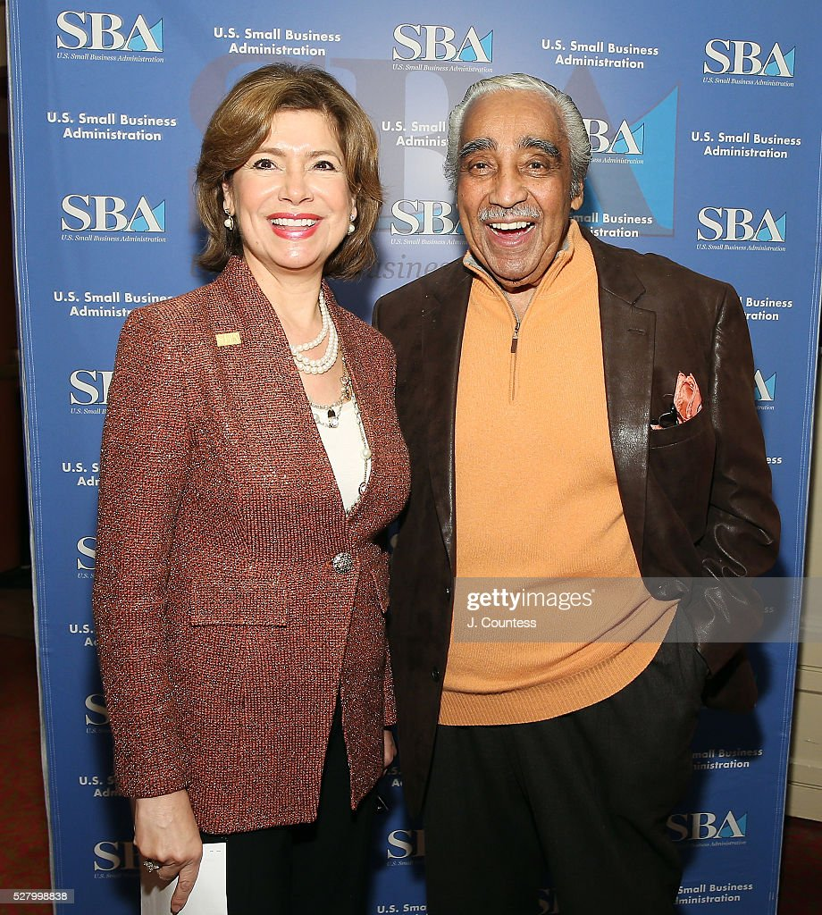 Administrator of the U.S. Small Business Administration Maria Contreras-Sweet and NY Congressman Charles Rangel pose for a photo at the Apollo Theater on Day 3 of National Small Business Week on May 3, 2016 in New York City.