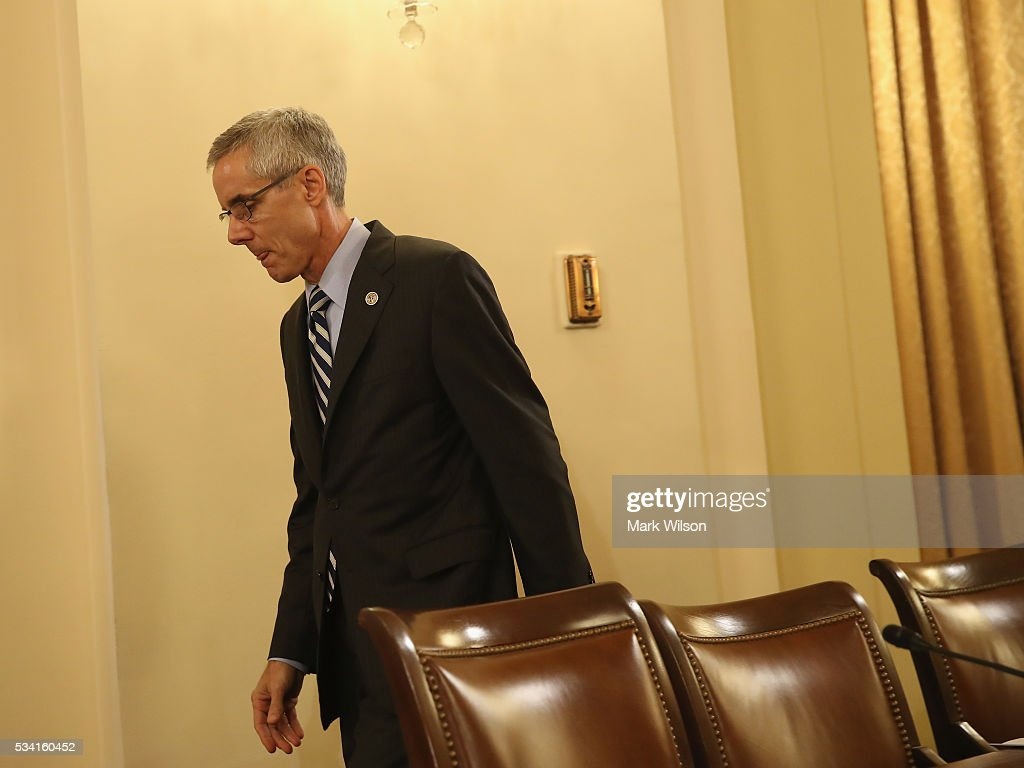 Administrator Peter V. Neffenger, arrives to testify during a House Homeland Security Committee hearing on Capitol Hill, May 25, 2016 in Washington, DC. The committee is hearing testimony on long lines at airport security screening check points.