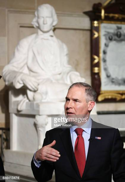 Administrator Scott Pruitt does a television interview in Statuary Hall at the US Capitol before President Donald Trump delivers a speech to a joint...