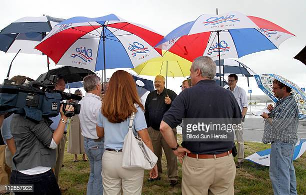 Administrator W Craig Fugate answers questions while meeting with local mayors and the media at the Biloxi Lighthouse in Biloxi Mississippi Friday...