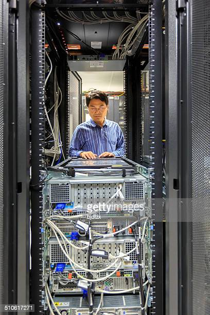 Administrator working on a server