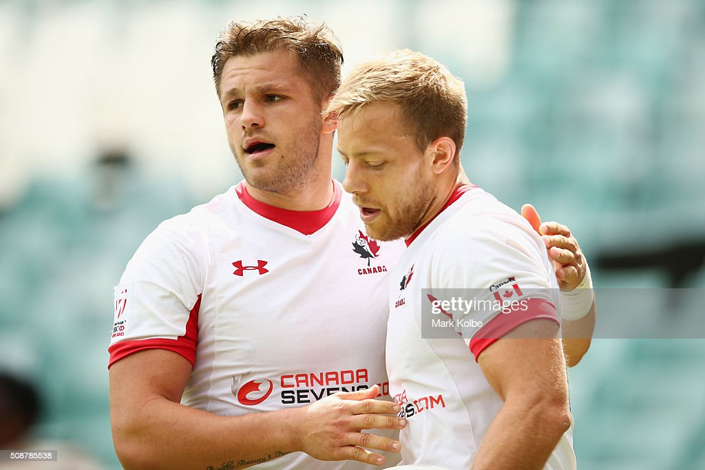 Admir Cejvanovic and Harry Jones of Canada celebrate a try during the 2016 Sydney Sevens bowl quarter final match between Canada and Wales at Allianz Stadium on February 7, 2016 in Sydney, Australia.