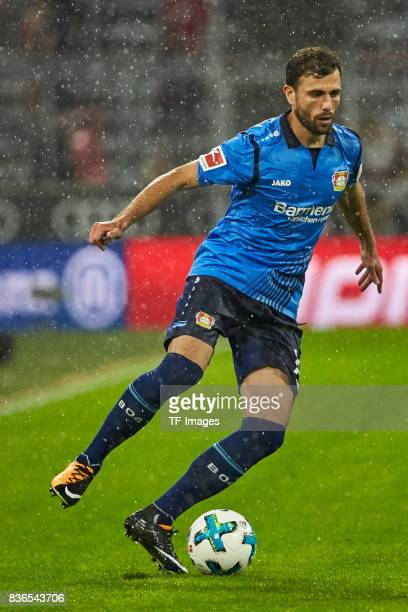 Admir Mehmedi controls the ball during the Bundesliga match between FC Bayern Muenchen and Bayer 04 Leverkusen at Allianz Arena on August 18 2017 in...