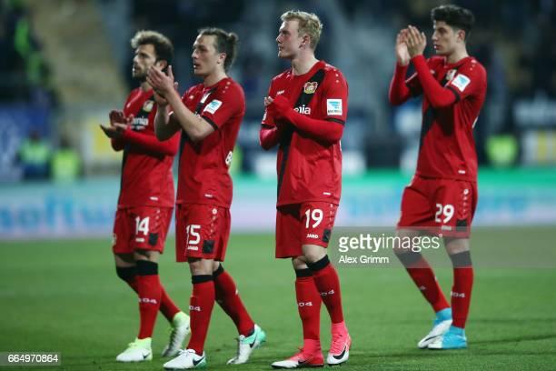 Admir Mehmedi Julian Baumgartlinger Julian Brandt and Kai Havertz of Leverkusen celebrte after the Bundesliga match between SV Darmstadt 98 and Bayer...