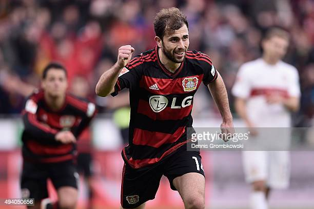 Admir Mehmedi of Bayer Leverkusen celebrates as he scores his team's fourth goal during the Bundesliga match between Bayer Leverkusen and VfB...