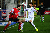 Admir Mehmedi of Freiburg is challenged by Hiroki Sakai of Hannover during the Bundesliga match between SC Freiburg and Hannover 96 at...