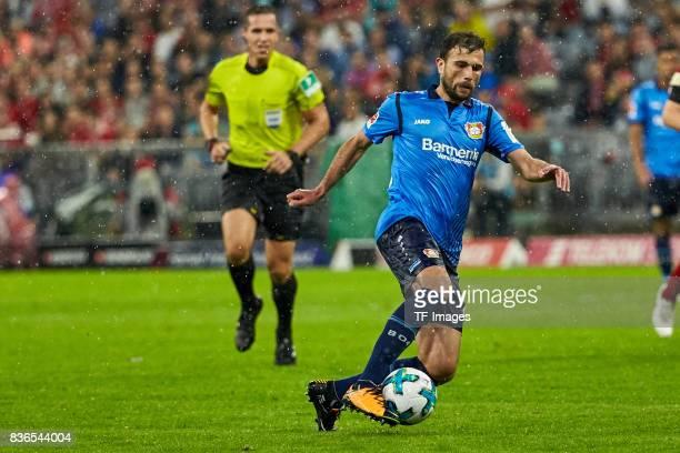 Admir Mehmedi of Leverkusen controls the ball during the Bundesliga match between FC Bayern Muenchen and Bayer 04 Leverkusen at Allianz Arena on...
