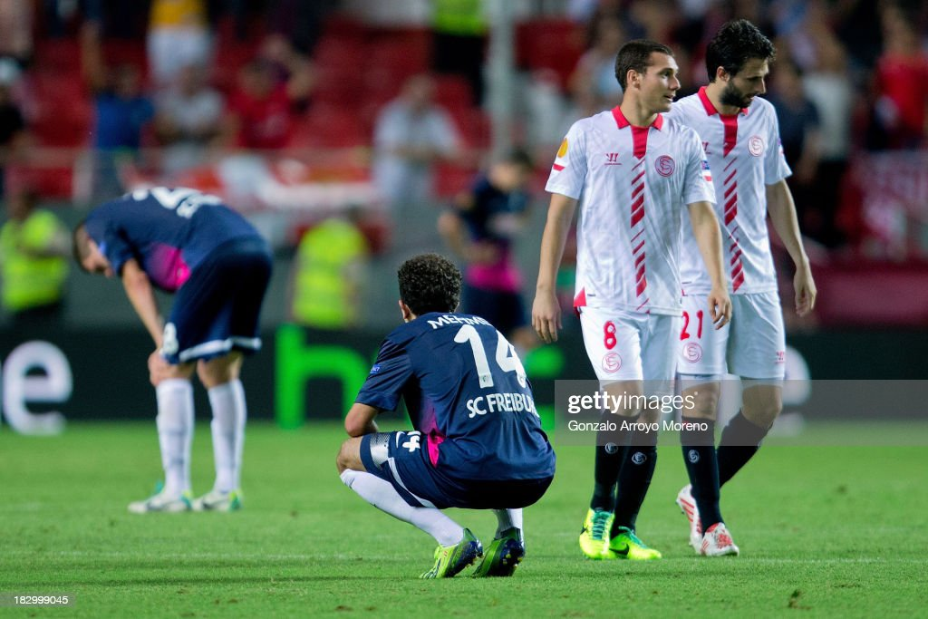 Admir Mehmedi of SC Freiburg looks dejected after Sevilla's second goal during the UEFA Europa League group H match between Sevilla FC and SC Freiburg at Estadio Ramon Sanchez Pizjuan on October 3, 2013 in Seville, Spain.