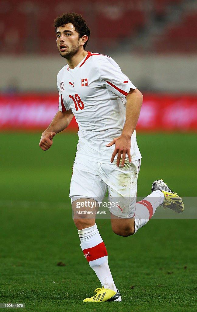 Admir Mehmedi of Switzerland in action during the International Friendly match between Greece and Switzerland at Karaiskakis Stadium on February 6, 2013 in Athens, Greece.