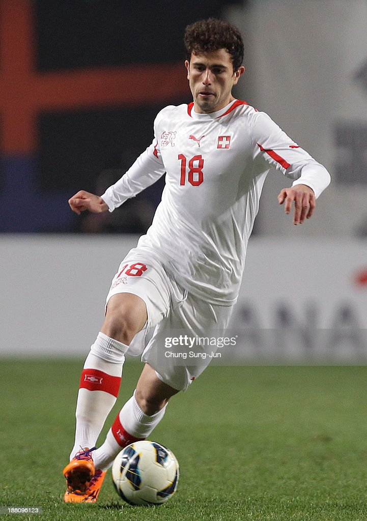 Admir Mehmedi of Switzerland in action during the international friendly match between South Korea and Switzerland at the Seoul World Cup Stadium on November 15, 2013 in Seoul, South Korea.