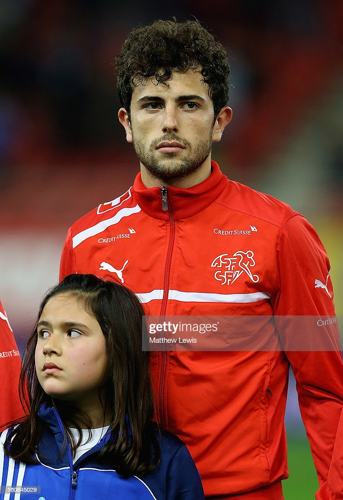 Admir Mehmedi of Switzerland lines up ahead of the International Friendly match between Greece and Switzerland at Karaiskakis Stadium on February 6, 2013 in Athens, Greece.