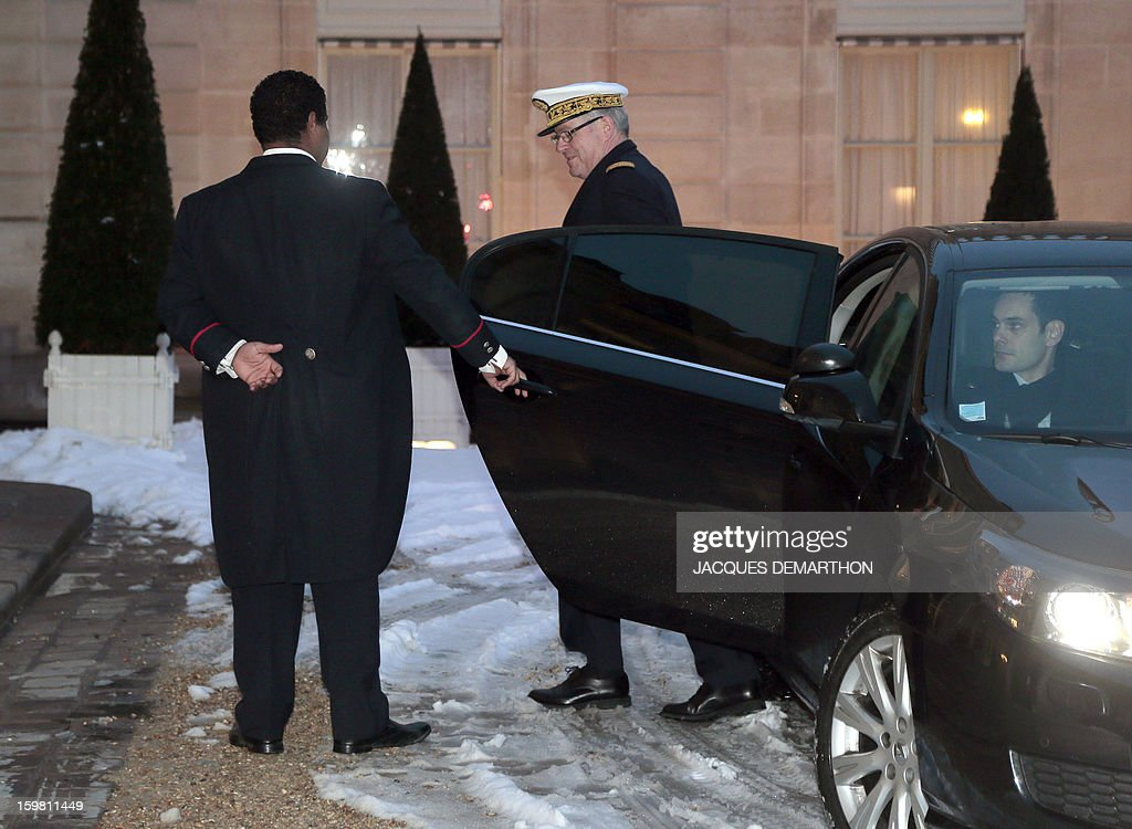 Admiral Edouard Guillaud (C), France's armies chief of staff arrives at the presidential Elysee palace on January 21, 2013 in Paris, to participate in a meeting with France's President on the situations in Mali and Algeria. French troops on Sunday consolidated gains in Mali's Islamist-held north as Paris said the aim was its 'total reconquest' and Canada, Germany and Russia offered vital aid for the offensive. The Al-Qaeda-linked group that shocked the world with its audacious hostage attack in neighbouring Algeria threatened meanwhile to stage further reprisal strikes on nations involved in chasing out Islamists from Mali.