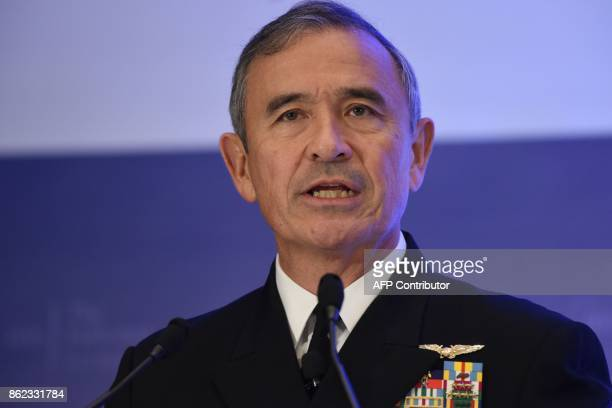 Admiral Harry B Harris Jr Commander United States Pacific Command delivers his speech on 'Challenges Opportunities and Innovation in the...