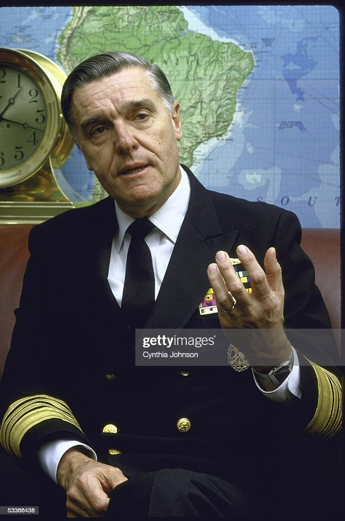 Admiral James Watkins during interview