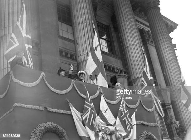 Admiral Lord Louis Mountbatten Supreme Allied Commander in SouthEast Asia waving from the balcony of the Mansion House in London after he was driven...