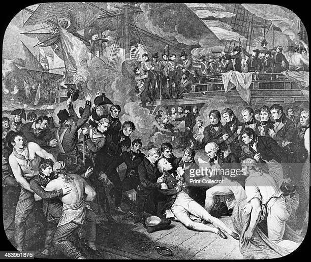 Admiral Lord Nelson wounded at the Battle of Trafalgar 1805 Nelson on the quarterdeck of his flagship HMS 'Victory' after being fatally wounded by a...
