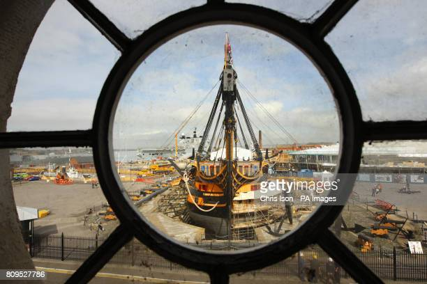 Admiral Lord Nelson's famous flagship 'HMS Victory' stands minus her topmasts and bowsprit at the Royal Navy Dockyard in Portsmouth