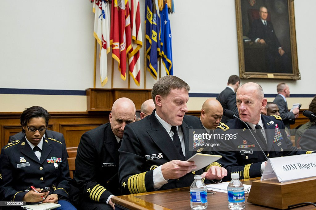 Admiral Michael Rogers commander of US Cyber Command and Director of the National Security Agency and Lt Gen Edward Cardon commander of US Army Cyber...