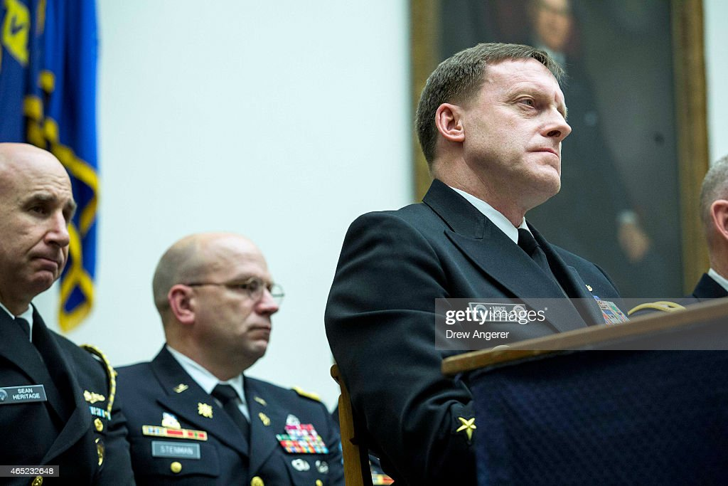 Admiral Michael Rogers commander of US Cyber Command and Director of the National Security Agency testifies during a House Armed Services Emerging...