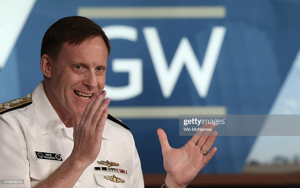 Admiral Michael Rogers commander of US Cyber Command and director of the National Security Agency speaks at George Washington University May 11 2015...
