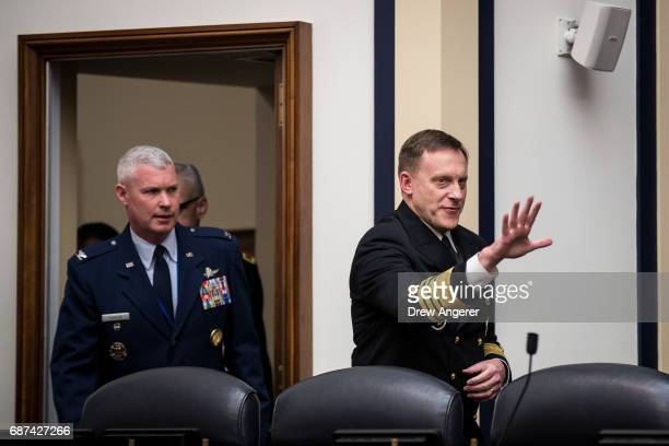 Admiral Michael Rogers Director of the National Security Agency and commander of US Cyber Command arrives to testify during a House Armed Services...