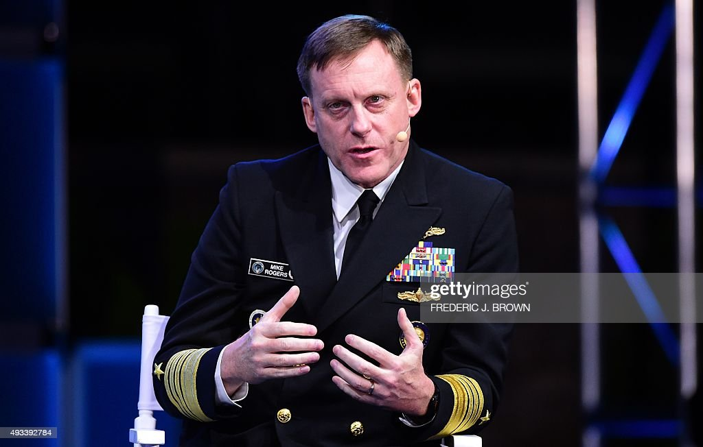 Admiral Michael Rogers Director of the National Security Agency gestures while speaking on October 19 2015 in Laguna Beach California at the opening...