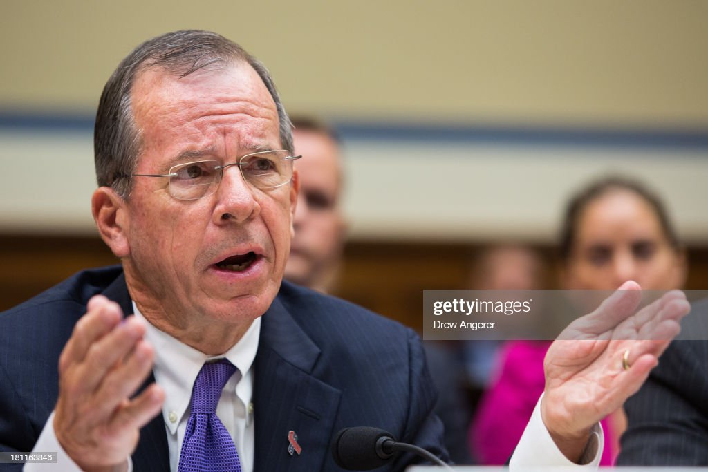 Admiral Mike Mullen, former Chairman of the Joint Chiefs of Staff and current Vice-Chairman of the Benghazi Accountability Review Board, testifies during a House Oversight Committee hearing entitled 'Reviews of the Benghazi Attack and Unanswered Questions,' in the Rayburn House Office Building on Capitol Hill, September 19, 2013 in Washington, DC. Committee Chairman Darrell Issa (R-CA) is continuing to lead the GOP investigation of the Sept. 11, 2012, assaults that killed U.S. Ambassador J. Christopher Stevens and three other Americans at the U.S. Consulate in Benghazi, Libya.