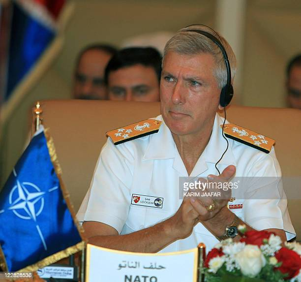 US Admiral Samuel Locklear commander of NATO's Joint Operations Command attends the meeting of chiefs of staff of countries militarily involved in...
