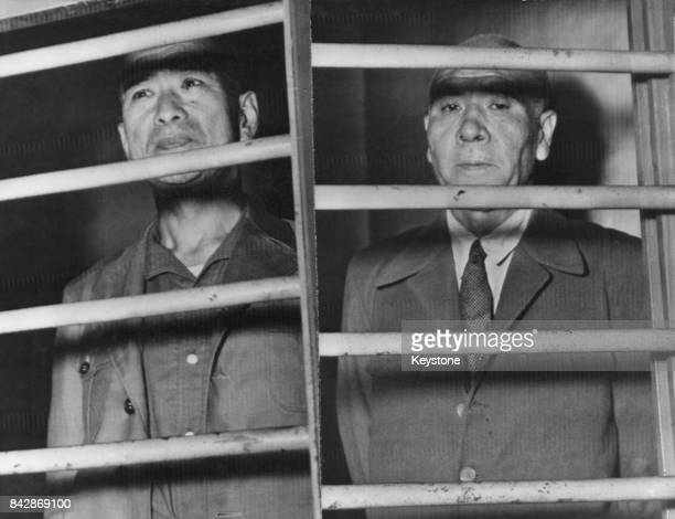 Admiral Shigetaro Shimada and General Masaharu Homma at Yokohama jail awaiting trial as war criminals Japan circa 1946 Homma was executed for his...