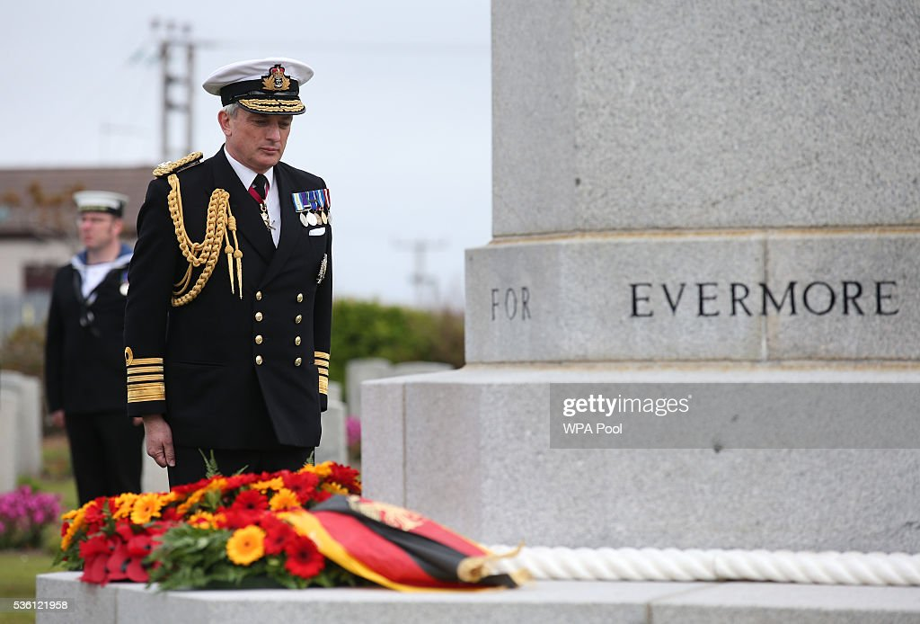 Admiral Sir Philip Jones lays a wreath at a service at Lyness Cemetery during the 100th anniversary commemorations for the Battle of Jutland on May 31, 2016 in Hoy, Scotland. The event marks the centenary of the largest naval battle of World War One where more than 6,000 Britons and 2,500 Germans died in the Battle of Jutland fought near the coast of Denmark on 31 May and 1 June 1916.