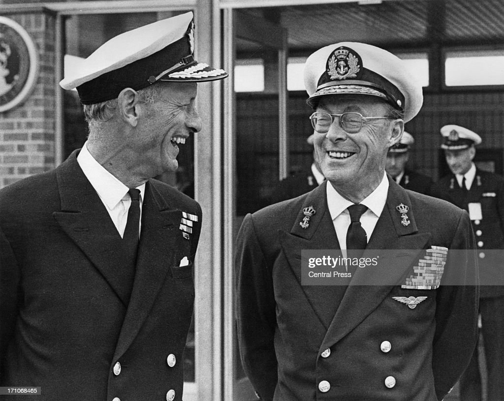Admiral Sir William O'Brien of the Royal Navy with Prince Bernhard of the Netherlands at Northwood Headquarters Northwood Middlesex 28th May 1970...