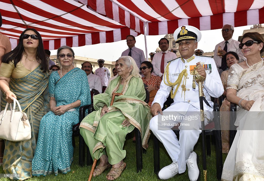 Admiral Sunil Lanba, ( R ) who took charge as the new Chief of Indian Naval staff, after a ceremonial guard of honor with his family members at South Block on May 31, 2016 in New Delhi, India. Earlier this month the government appointed Lanba, the Flag Officer Commanding-in-Chief, Western Naval Command as the Chief of Naval Staff. Admiral Lanba, 58, is a qualified specialist in navigation and direction course and will have a full three-year-term in office till May 31, 2019.