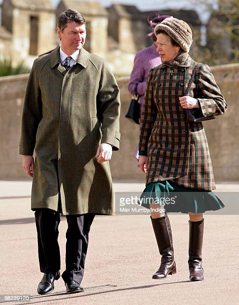 Admiral Tim Laurence and HRH Princess Anne The Princess Royal attend the traditional Easter Sunday church service at St George's Chapel on April 4...