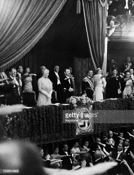 Admiral von Horthy the Hungarian Regent and his wife Frau Magda von Horthy at Berlin Opera for Richard Wagner's Lohengrin performance with Adolf...