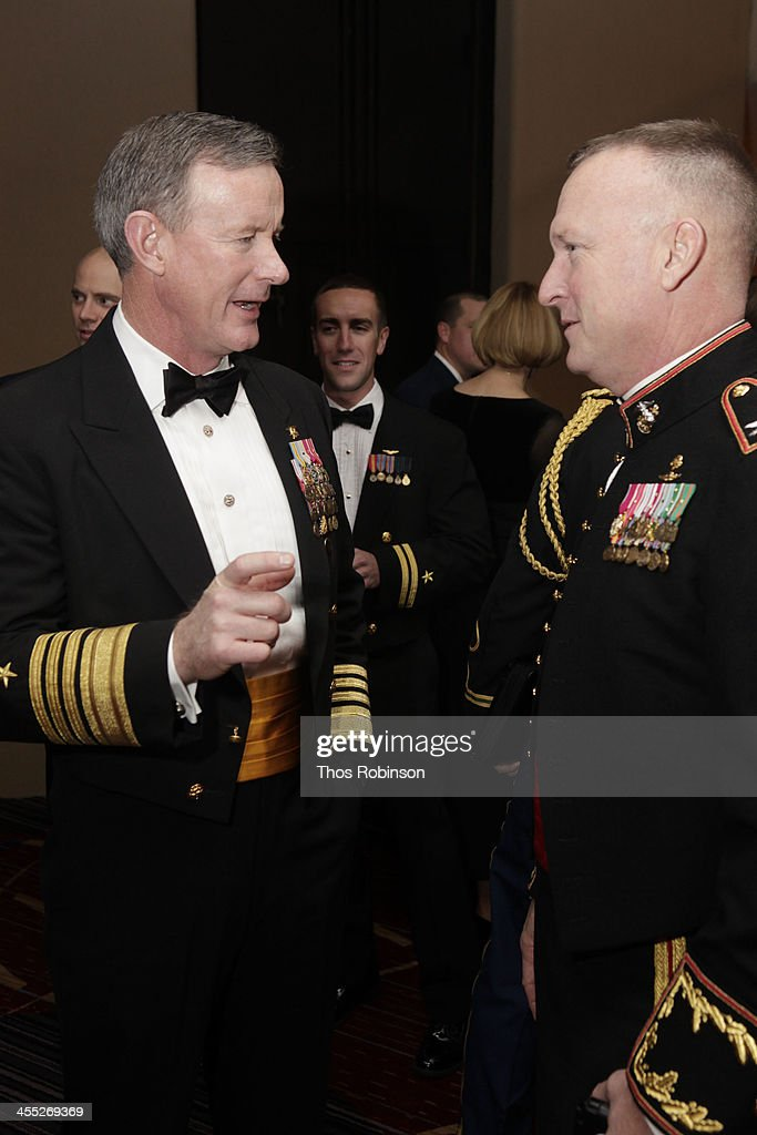 Admiral William McRaven speaks with guest at 52nd USO Armed Forces Gala & Gold Medal Dinner at Marriott Marquis Times Square on December 11, 2013 in New York City.