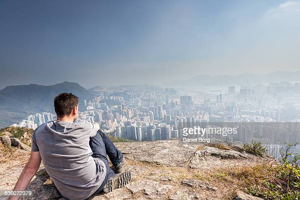 Admiring the Hong Kong view from up high