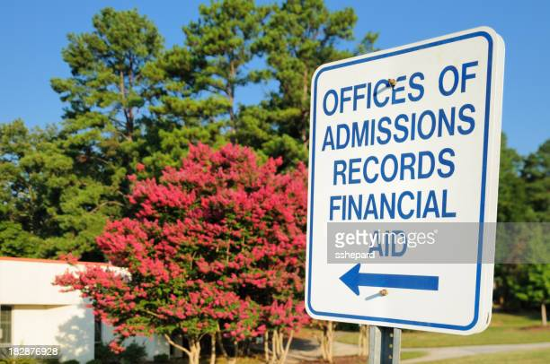 Admisions and financial records aid sign
