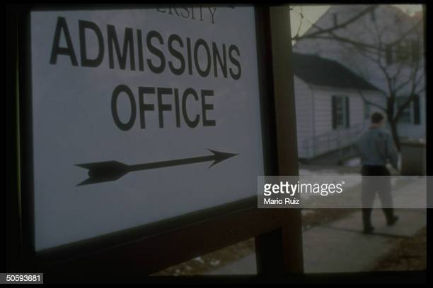Admissions Office sign at major private univ