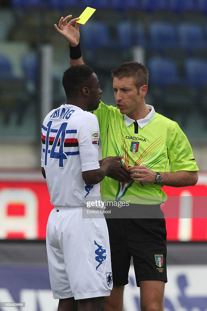 admonition of Obiang of Sampdoria during the Serie A match between Cagliari Calcio and UC Sampdoria at Stadio Sant'Elia on March 10, 2013 in Cagliari, Italy.