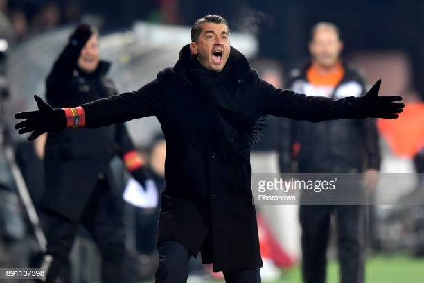 Adnan Custovic head coach of KV Oostende reacts during the Belgian Croky Cup match between KV Oostende and Standard de Liege on December 12 2017 in...