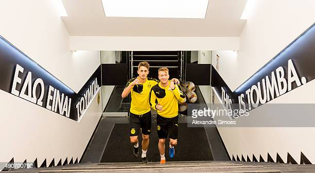 Adnan Januzaj and Marco Reus of Borussia Dortmund during a training session prior to the UEFA Europa League Group C match between PAOK FC and...