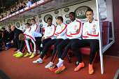 Adnan Januzaj of Man Utd sits on the substitutes' bench alongside teammates Danny Welbeck Javier 'Chicharito' Hernandez and Anderson before the...