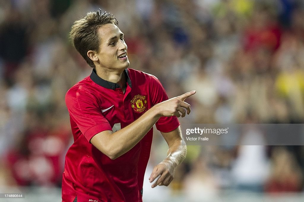 Adnan Januzaj of Manchester United celebrates his goal during the international friendly match between Kitchee FC and Manchester United at Hong Kong Stadium on July 29, 2013 in So Kon Po, Hong Kong.