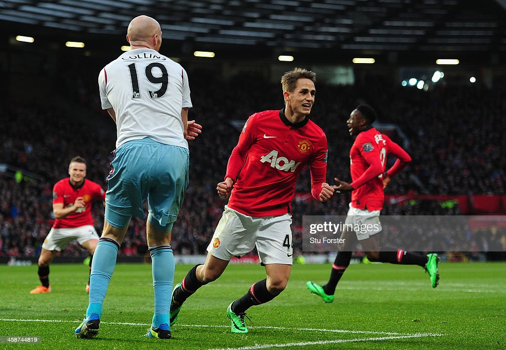 <a gi-track='captionPersonalityLinkClicked' href=/galleries/search?phrase=Adnan+Januzaj&family=editorial&specificpeople=8291259 ng-click='$event.stopPropagation()'>Adnan Januzaj</a> of Manchester United celebrates scoring his team's second goal during the Barclays Premier League match between Manchester United and West Ham United at Old Trafford on December 21, 2013 in Manchester, England.