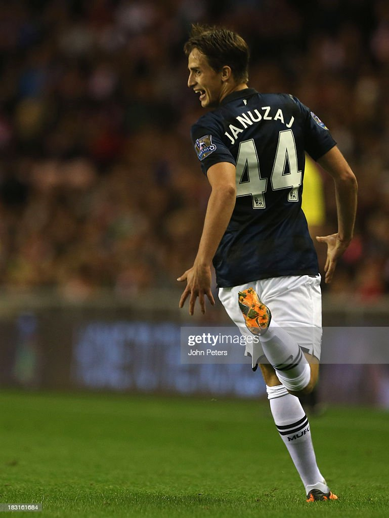 <a gi-track='captionPersonalityLinkClicked' href=/galleries/search?phrase=Adnan+Januzaj&family=editorial&specificpeople=8291259 ng-click='$event.stopPropagation()'>Adnan Januzaj</a> of Manchester United celebrates scoring their second goal during the Barclays Premier League match between Sunderland and Manchester United at the Stadium of Light on October 5, 2013 in Sunderland, England.