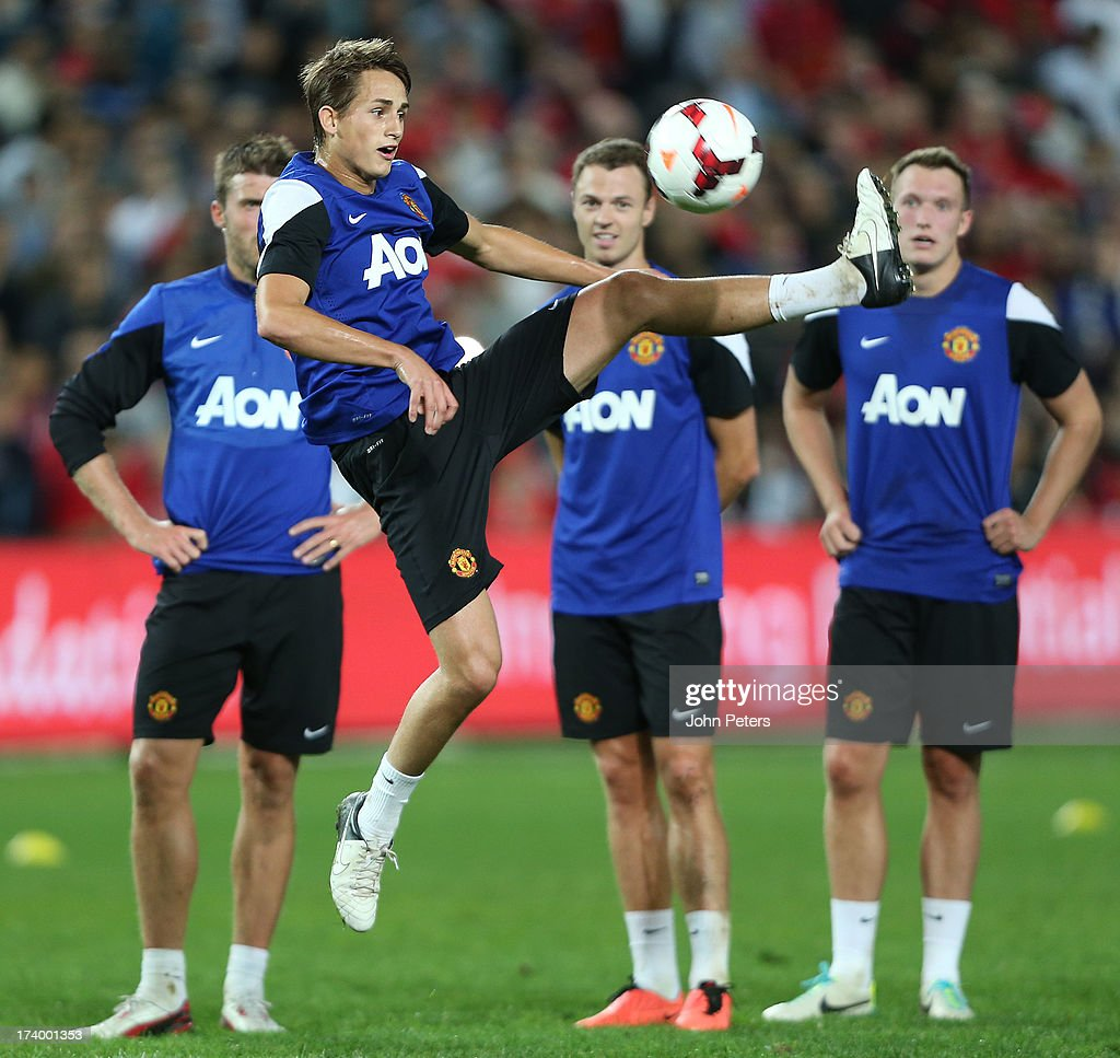 <a gi-track='captionPersonalityLinkClicked' href=/galleries/search?phrase=Adnan+Januzaj&family=editorial&specificpeople=8291259 ng-click='$event.stopPropagation()'>Adnan Januzaj</a> of Manchester United in action during a first team training session as part of their pre-season tour of Bangkok, Australia, China, Japan and Hong Kong on July 19, 2013 in Sydney, Australia.