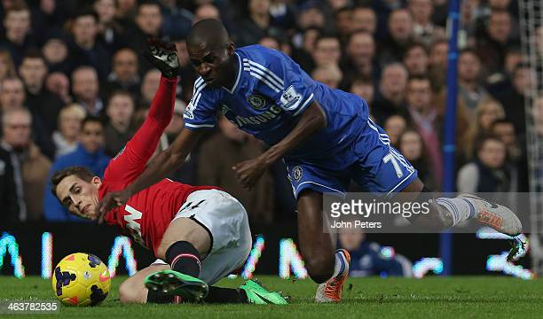 Adnan Januzaj of Manchester United in action with Ramires of Chelsea during the Barclays Premier League match between Chelsea and Manchester United...