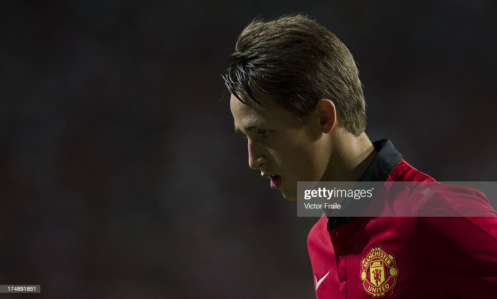 Adnan Januzaj of Manchester United looks on during the international friendly match between Kitchee FC and Manchester United at Hong Kong Stadium on July 29, 2013 in So Kon Po, Hong Kong.